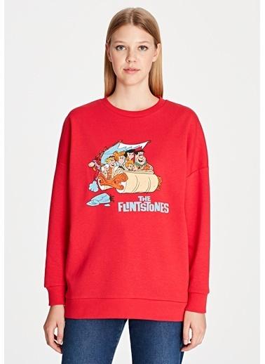 Mavi Sweatshirt Kırmızı